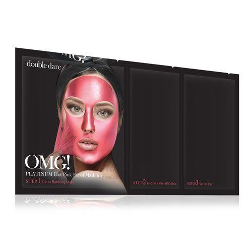 Купить Маска трехкомпонентная для ухода за кожей лица розовая Double Dare OMG!, Platinum Hot Pink Facial Mask Kit, США