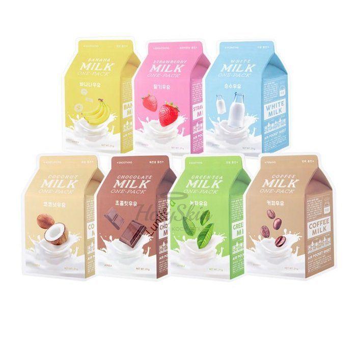 Купить Линейка тканевых масок A'Pieu, Apieu Milk One-Pack, Южная Корея