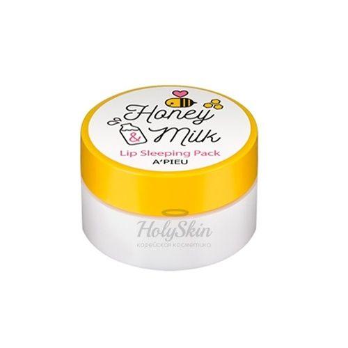Купить Ночная питательная маска для увлажнения кожи губ A'Pieu, Honey and Milk Lip Sleeping Pack, Южная Корея