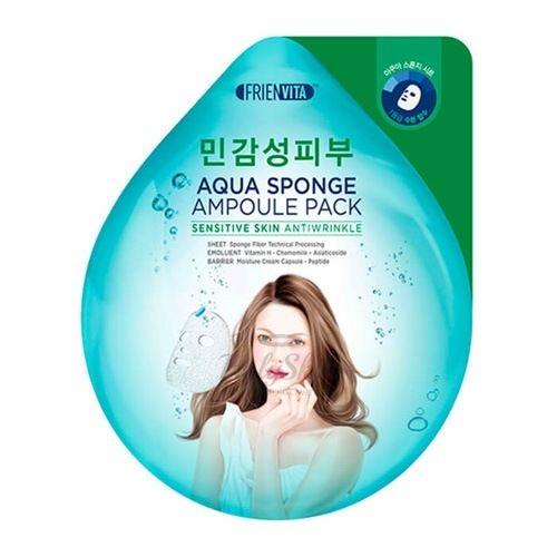 Купить Ампульная маска-крем для чувствительной кожи с гиалуроновой кислотой, центеллой и пептидами Frienvita, Aqua Sponge Sensitive Skin Ampoule Pack, Южная Корея