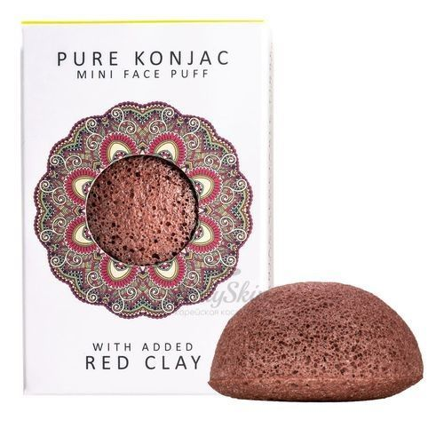 Pure Konjak Mini Face Puff French Red Clay Спонж для лица с французской красной глиной