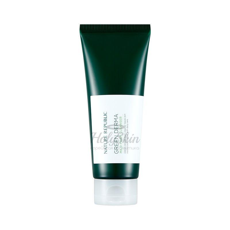Купить Пенка для лица Nature Republic, Green Derma Mild Foam Cleanser, Южная Корея