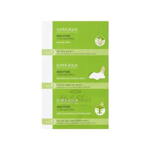 Купить Трехступенчатая очищающая маска для носа Missha, Super Aqua Mini Pore 3Step Nose Patch, Южная Корея