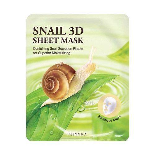Оздоравливающая 3D маска Missha, Healing Snail 3D Sheet Mask, Южная Корея  - Купить