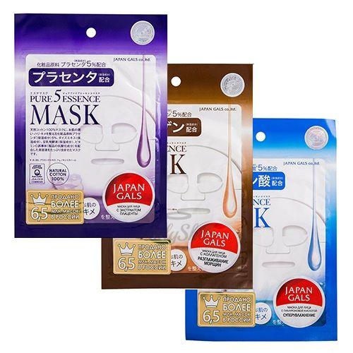 Купить Увлажняющая маска для лица Japan Gals, Pure 5 Essence Mask 1pcs, Япония