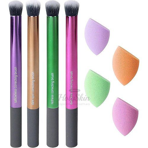 Купить Набор разноцветных спонжей и кистей для макияжа Real Techniques, Color Correcting Set, Южная Корея