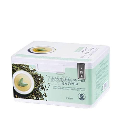 Купить Ежедневные маски для лица с экстрактом зеленого чая A'Pieu, Daily Sheet Mask Green Tea Soothing, Южная Корея