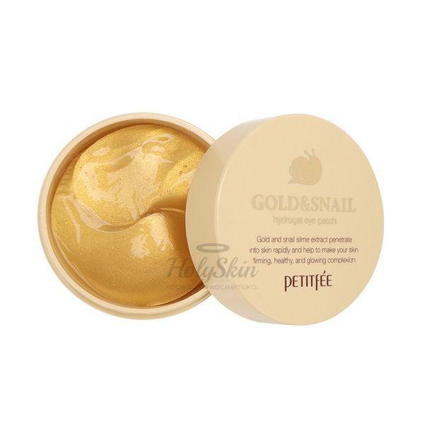 Улиточные патчи для глаз с золотом Petitfee Gold and Snail Hydrogel Eye Patch фото