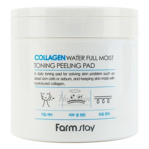 Купить Отшелушивающие очищающие подушечки с коллагеном Farmstay, Collagen Water Full Moist Toning Peeling Pad, Южная Корея