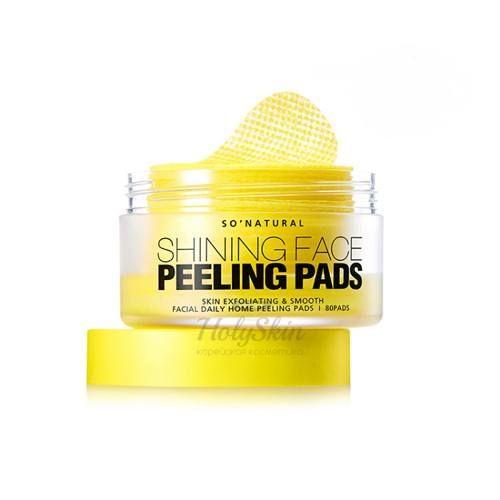 Очищающие и выравнивающие пилинг-тон пады 80 штук So Natural, Shining Face Peeling Pads, Южная Корея  - Купить