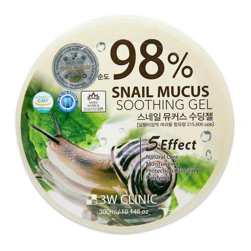 Купить Многофункциональный гель с экстрактом слизи улитки 3W Clinic, Snail Mucus Soothing Gel 98%, Южная Корея