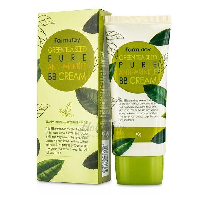 Купить Матирующий BB крем с матовым финишем Farmstay, Green Tea Seed Pure Anti-Wrinkle BB Cream, Южная Корея