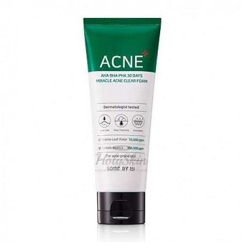 Купить Очищающая пенка для проблемной кожи с кислотами Some By Mi, AHA BHA PHA 30 Days Miracle Acne Clear Foam, Южная Корея