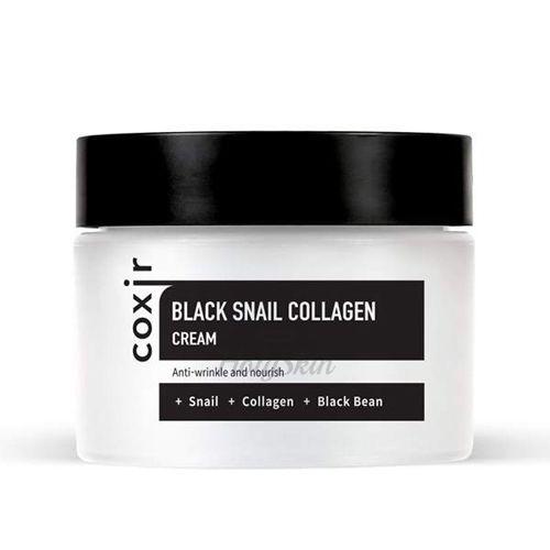 Купить Крем против морщин с коллагеном и муцином черной улитки Coxir, Black Snail Collagen Cream, Южная Корея