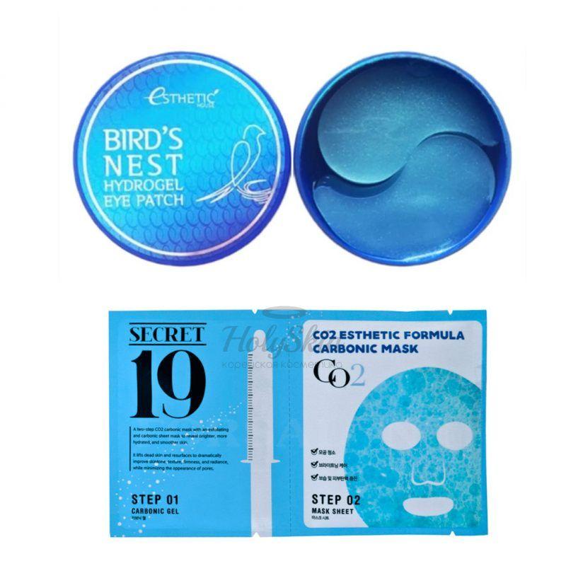 Купить Набор из гидрогелевых патчей для глаз и маски для карбокситерапии Esthetic House, Bird's Nest Hydrogel Eyepatch and CO2 Esthetic Formula Carbonic Mask, Южная Корея