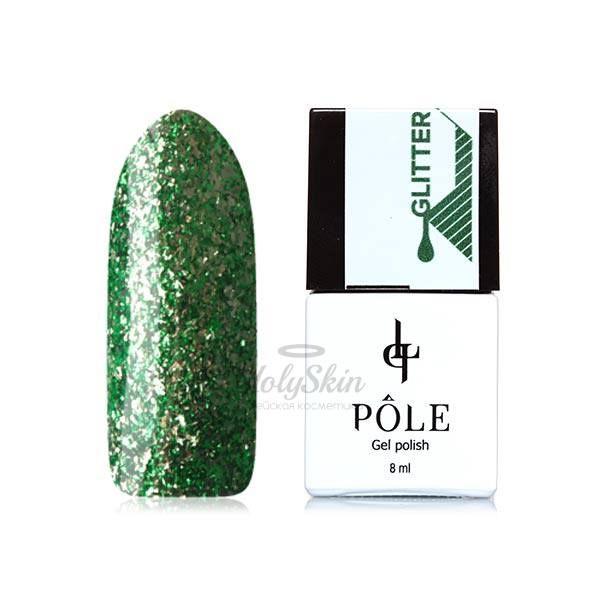 Купить Гель-лак насыщенный зеленый с серебристой фольгой плотный POLE, Гель-лак Glitter 36 Тропический Взрыв, Россия