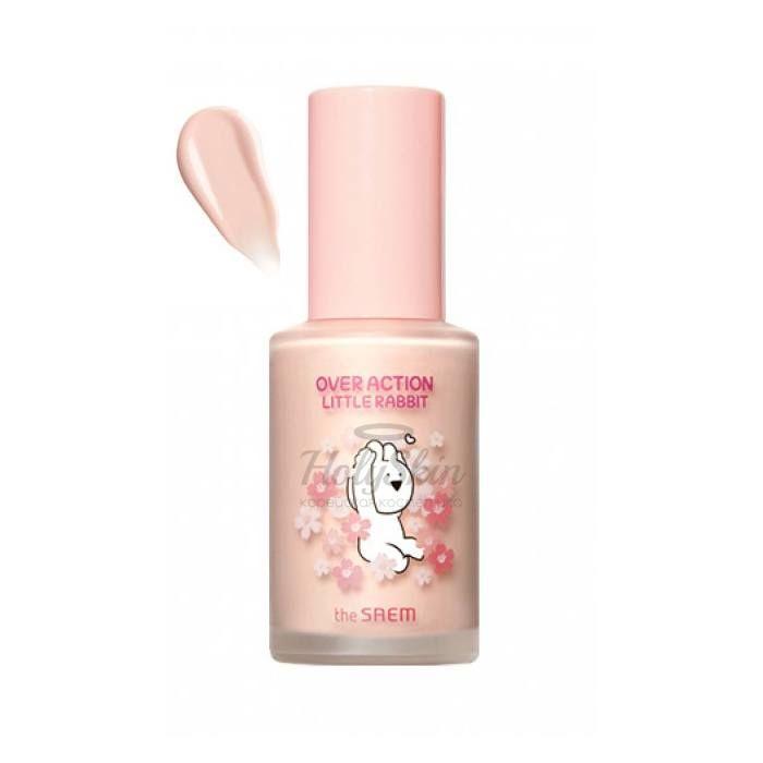 Персиковая база под макияж лимитированной серии The Saem Over Action Little Rabbit Eco Soul Peach Base фото