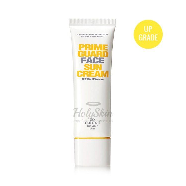 Купить Солнцезащитный крем для сухой и нормальной кожи лица So Natural, Prime Guard Face Sun Cream, Южная Корея