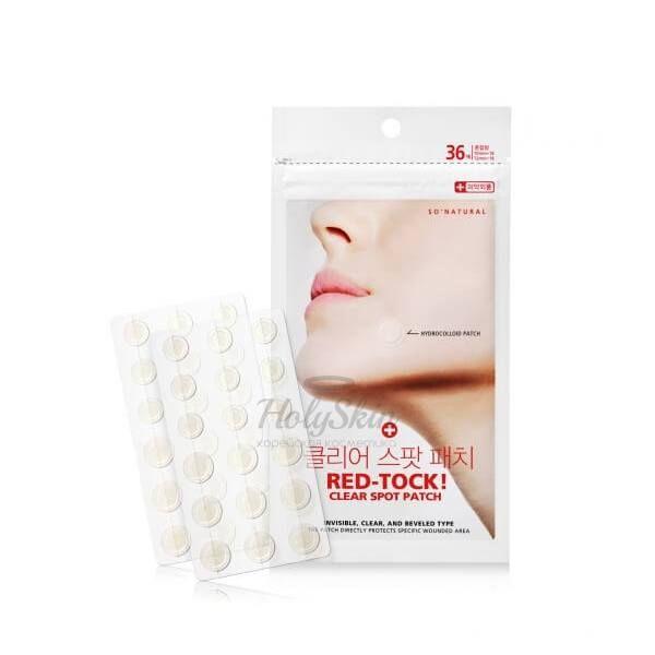 Купить Точечные невидимые лечебные патчи от акне So Natural, Red-Tock Clear Spot Patch, Южная Корея