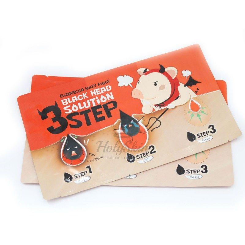 Купить Очищающие патчи для носа Elizavecca, Black Head Solution 3 Step Nose Strip, Южная Корея