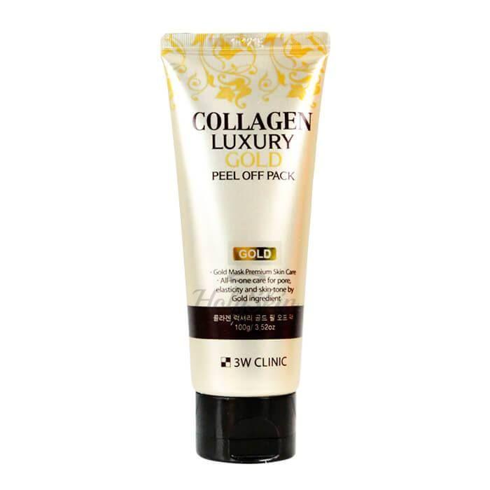 Купить Очищающая маска-пленка с золотом и коллагеном 3W Clinic, Collagen and Luxury Gold Peel Off Pack, Южная Корея