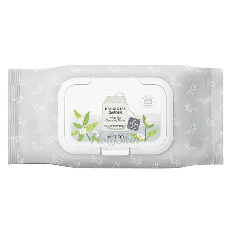 Купить Очищающие салфетки с экстрактом белого чая The Saem, Healing Tea Garden White Tea Cleansing Tissue, Южная Корея