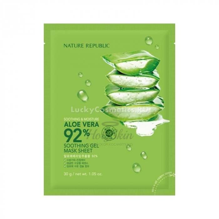 Купить Увлажняющая тканевая маска с алое Nature Republic, Soothing and Moisture Aloe Vera 92% Soothing Gel Mask Sheet, Южная Корея