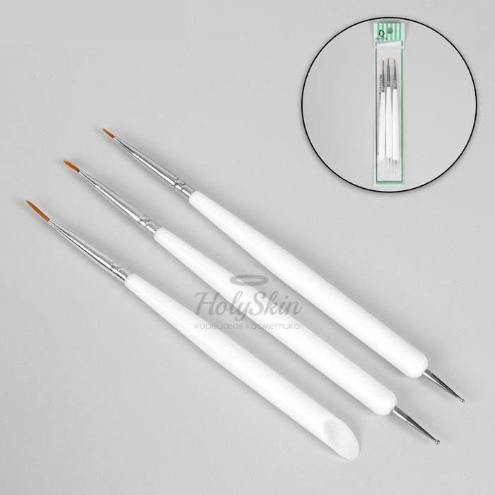 Купить Набор для дизайна ногтей HS, HS Набор для дизайна ногтей: точечная кисть - дотс 2 шт, точечная кисть - пушер 15 см белый, Китай