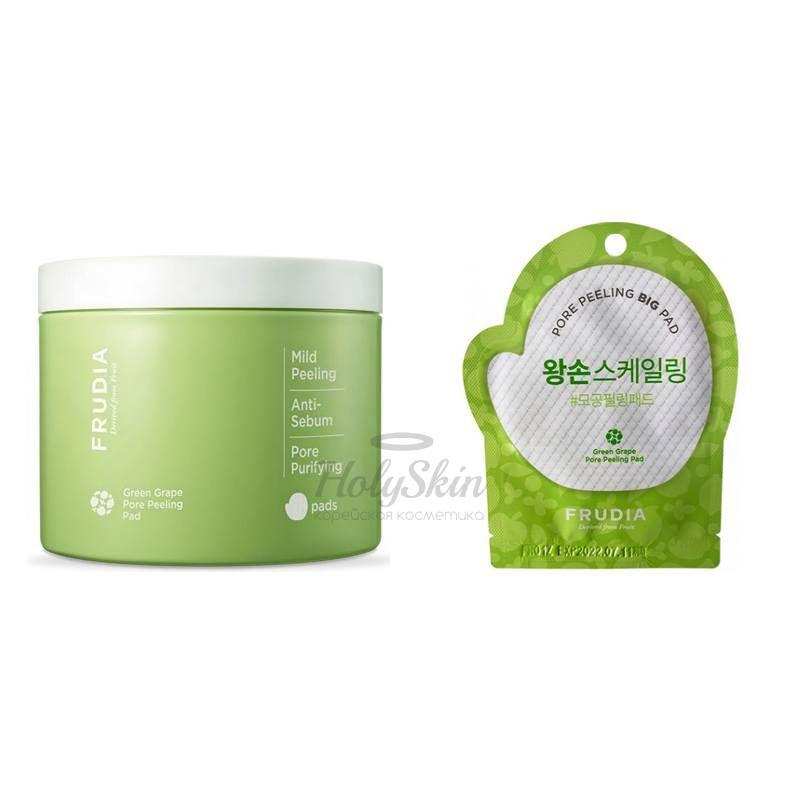 Купить Отшелушивающие диски с зеленым виноградом Frudia, Green Grape Pore Peeling Pad, Южная Корея