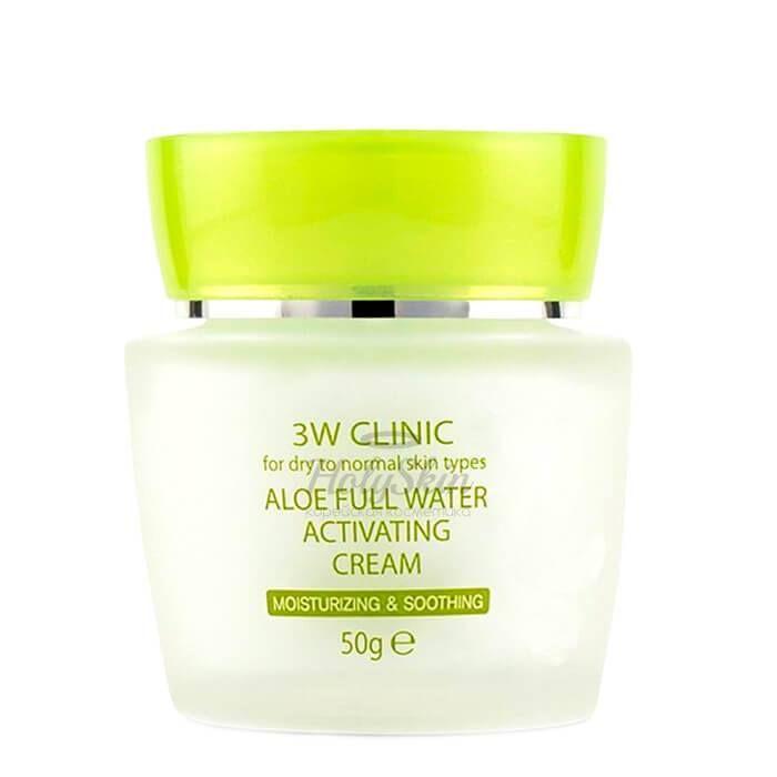 Купить Увлажняющий крем для лица с экстрактом алое вера 3W Clinic, Aloe Full Water Activating Cream, Южная Корея