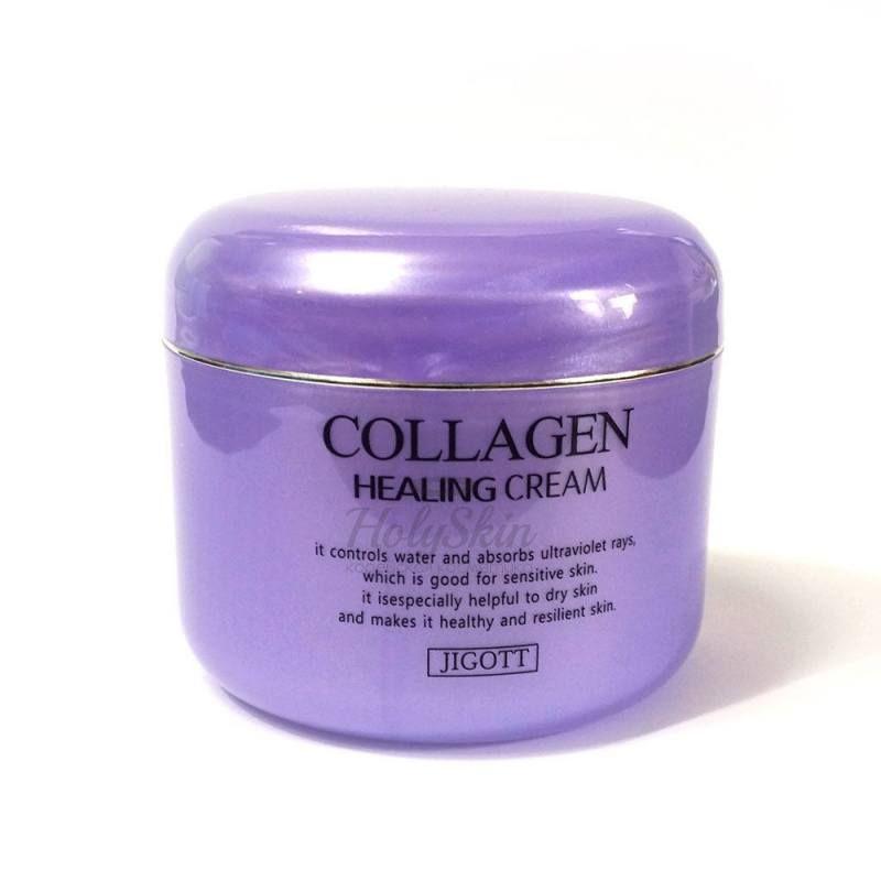 Питательный ночной крем с коллагеном Jigott, Collagen Healing Cream, Южная Корея  - Купить