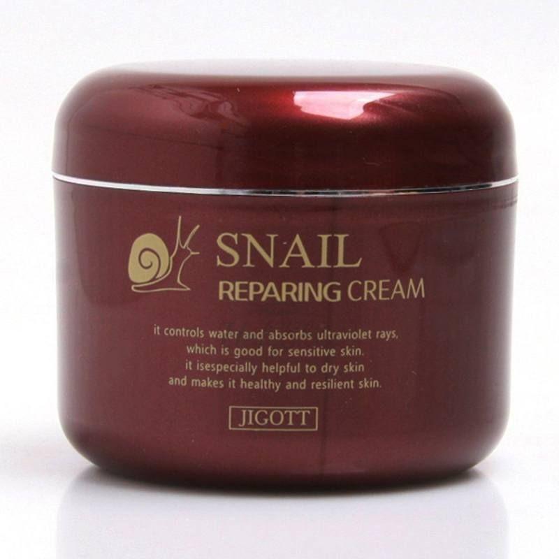 Восстанавливающий крем с муцином улитки Jigott Snail Reparing Cream фото
