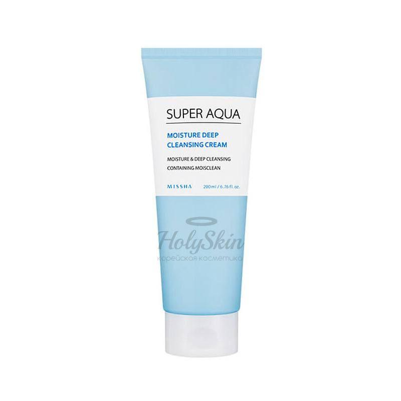 Купить Легкий очищающий крем для лица Missha, Super Aqua Moisture Deep Cleansing Cream, Южная Корея