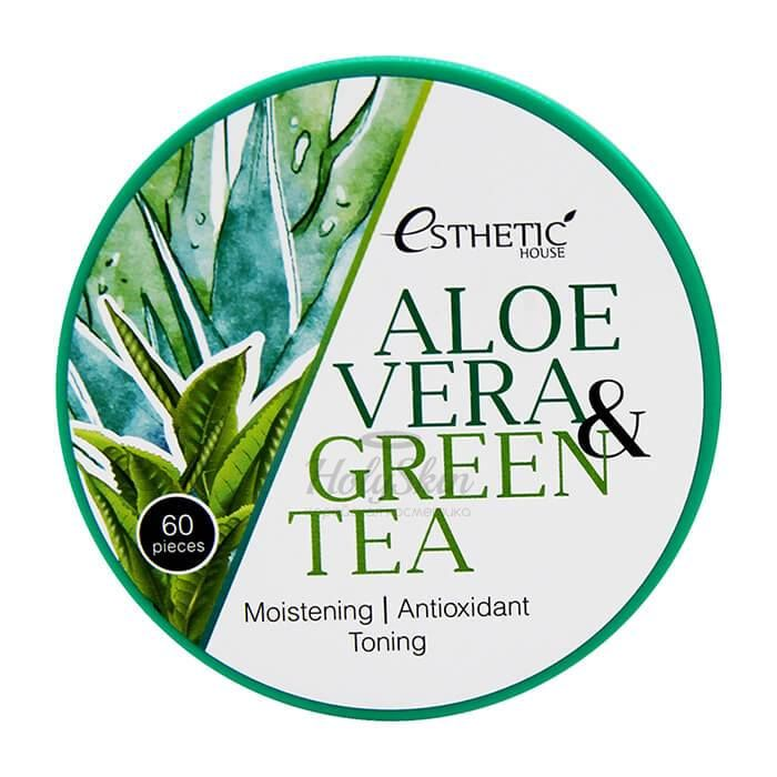Купить Увлажняющие гидрогелевые патчи с алое и зеленым чаем Esthetic House, Aloe Vera and Green Tea Hydrogel Eye Patch, Южная Корея