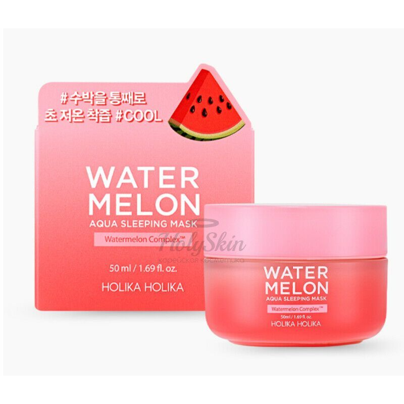 Купить Интенсивно увлажняющая ночная арбузная маска для лица Holika Holika, Watermelon Aqua Sleeping Mask, Южная Корея