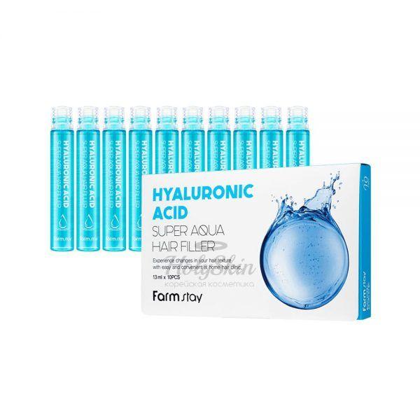 Купить Супер увлажняющий филлер для волос с гиалуроновой кислотой Farmstay, Hyaluronic Acid Super Aqua Hair Filler, Южная Корея