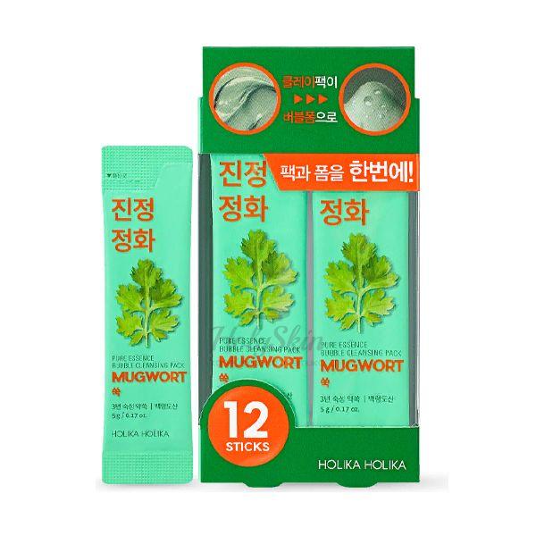 Купить Пузырьковая маска для лица с экстрактом полыни Holika Holika, Pure Essence Mugwort Bubble Cleansing Pack, Южная Корея
