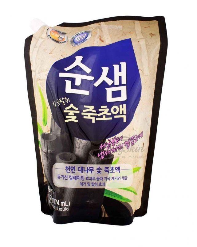 Купить Средство для мытья посуды с углём Kerasys, Soonsaem Bamboo Charcoal (Refill) 1200ml, Южная Корея