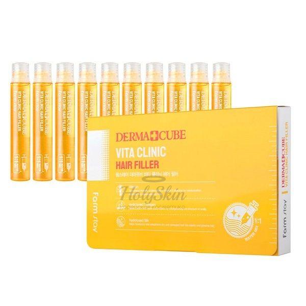 Купить Витаминизирующие филеры для волос Farmstay, Dermacube Vita Clinic Hair Filler, Южная Корея