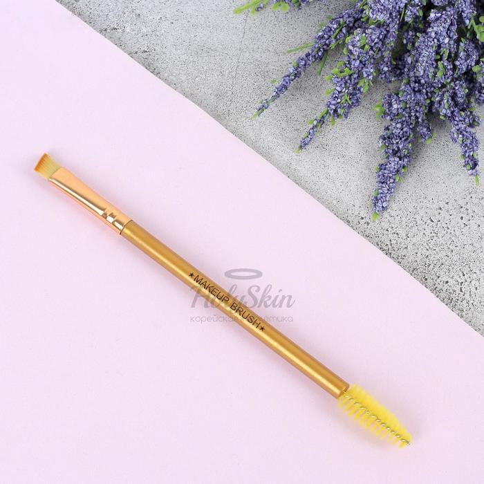 Кисть для макияжа HS — Кисть для макияжа, двусторонняя с щёточкой 15,5 см цвет микс