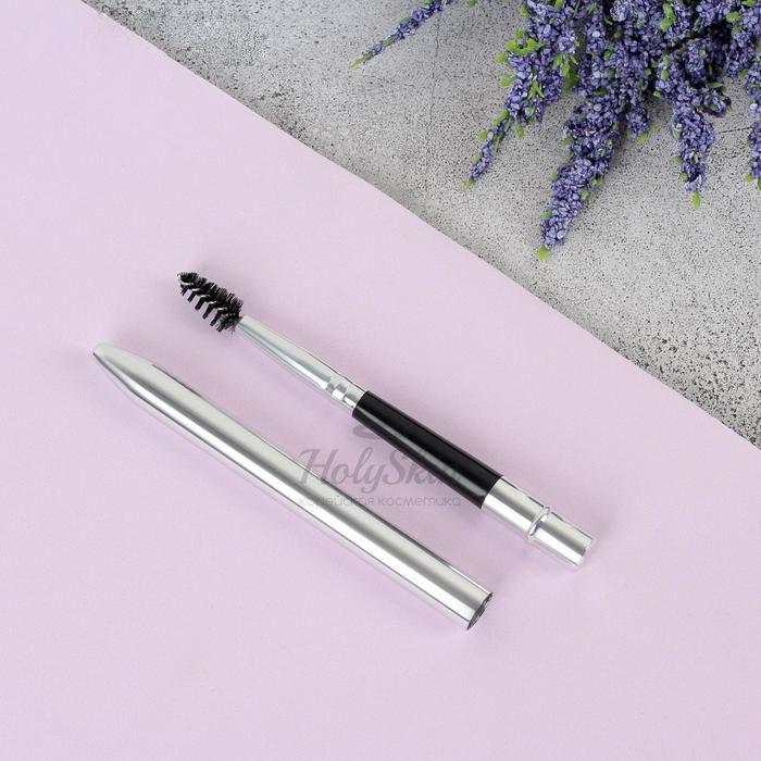Щёточка для бровей и ресниц HS — Щёточка для бровей и ресниц компактная 10,5 см чёрная/серебряная