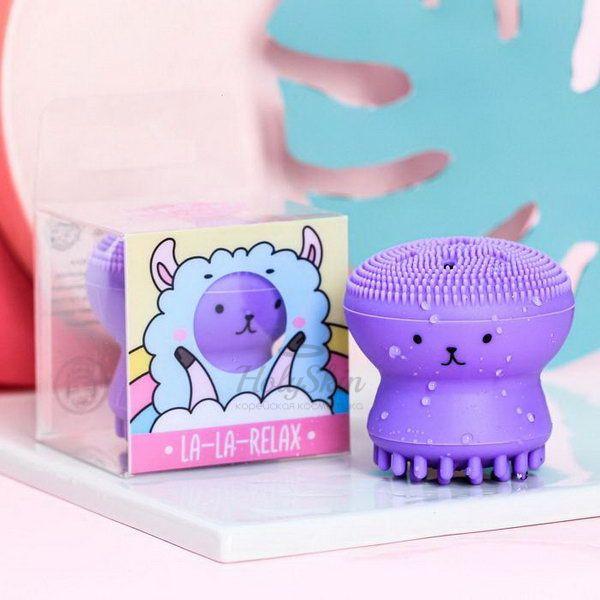 Щеточка для очищения лица и взбивания пены HS — Массажер для лица Лама фиолетовый