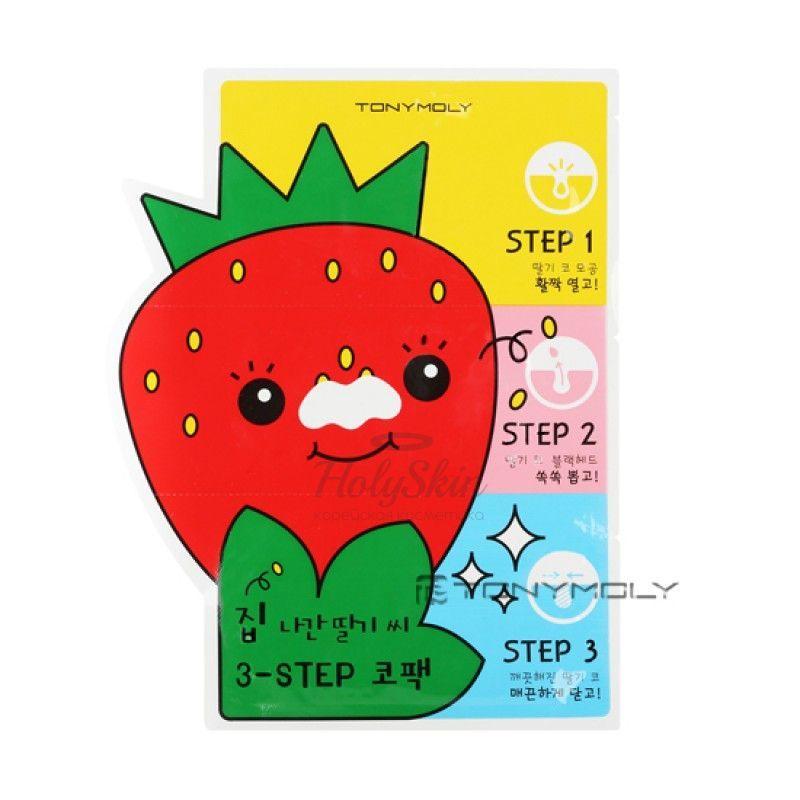 Купить 3 ступенчатые патчи против черных точек Tony Moly, Runaway Strawberry Seeds 3-step Nose Pack, Южная Корея