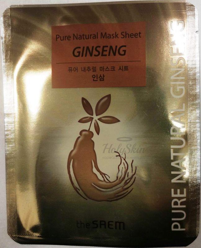 Купить Тканевая маска с красным женьшенем The Saem, Pure Natural Mask Sheet Ginseng, Южная Корея