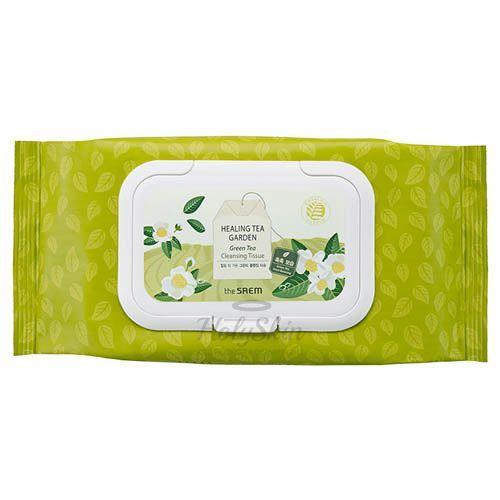 Купить Очищающие салфетки The Saem, Healing Tea Garden Green Tea Cleansing Tissue, Южная Корея