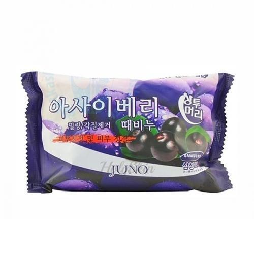 Купить Мыло-скраб с ягодами асаи Juno, Sangtumeori Peeling Soap Acai Berry, Южная Корея