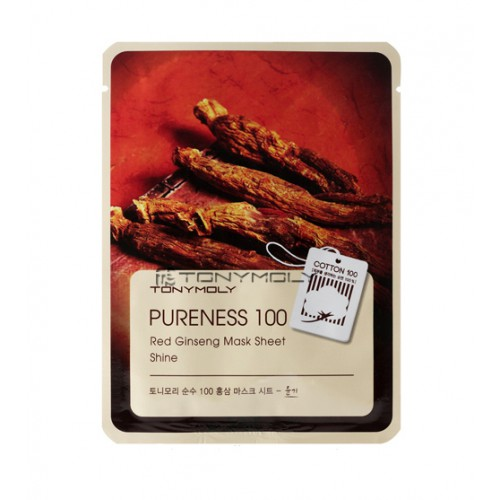 Тканевая маска с женьшенем Tony Moly Pureness 100 Red Ginseng Mask Sheet tony moly sheet gel mask pureness 100 pearl маска тканевая с экстрактом жемчуга 21 мл