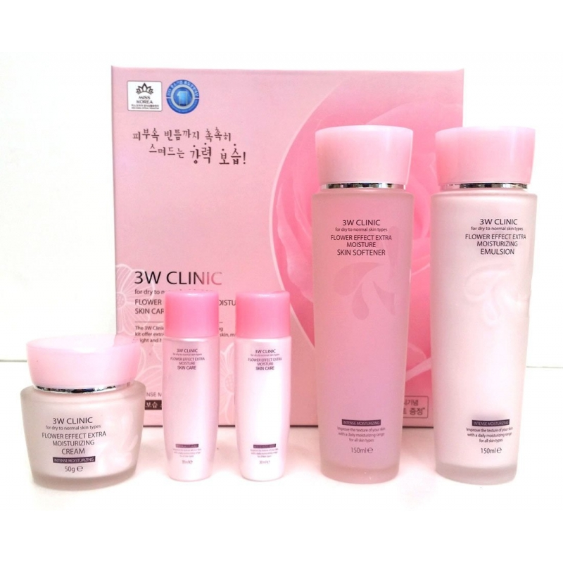 Набор для увлажнения лица с цветочными экстрактами 3W Clinic Flower Effect Extra Moisturizing 3 Kit Set b004 11pcs set bnc electronic specialties test lead kit automotive test probe kit universal multimeter probe leads kit