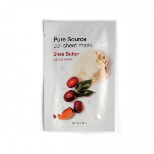 Тканевая маска для лица с маслом ши Missha Pure Source Cell Sheet Mask Shea Butter 1kg africa ghana natural shea butter unrefined organic pure pregnant women baby can eat