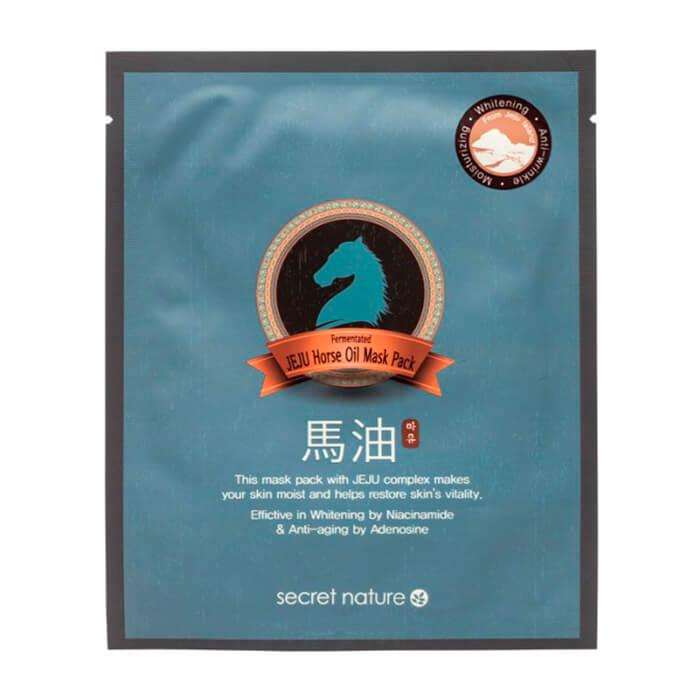 Тканевая маска для лица с экстрактом лошадиного жира Secret Nature Fermented Jeju Horse Oil Mask Pack